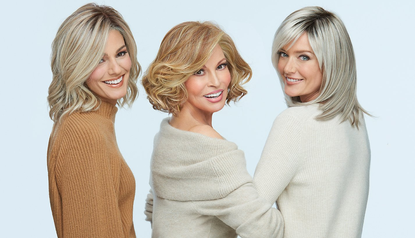 Raquel Welch and two other women wearing wigs from the Raquel Welch Wig Collection