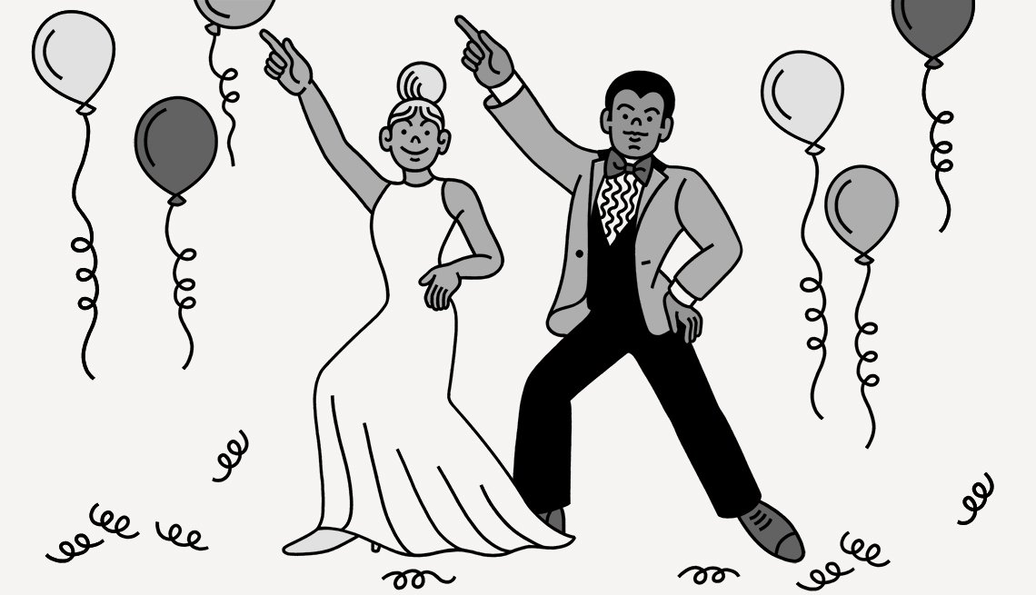 Illustration of a couple dancing at their wedding