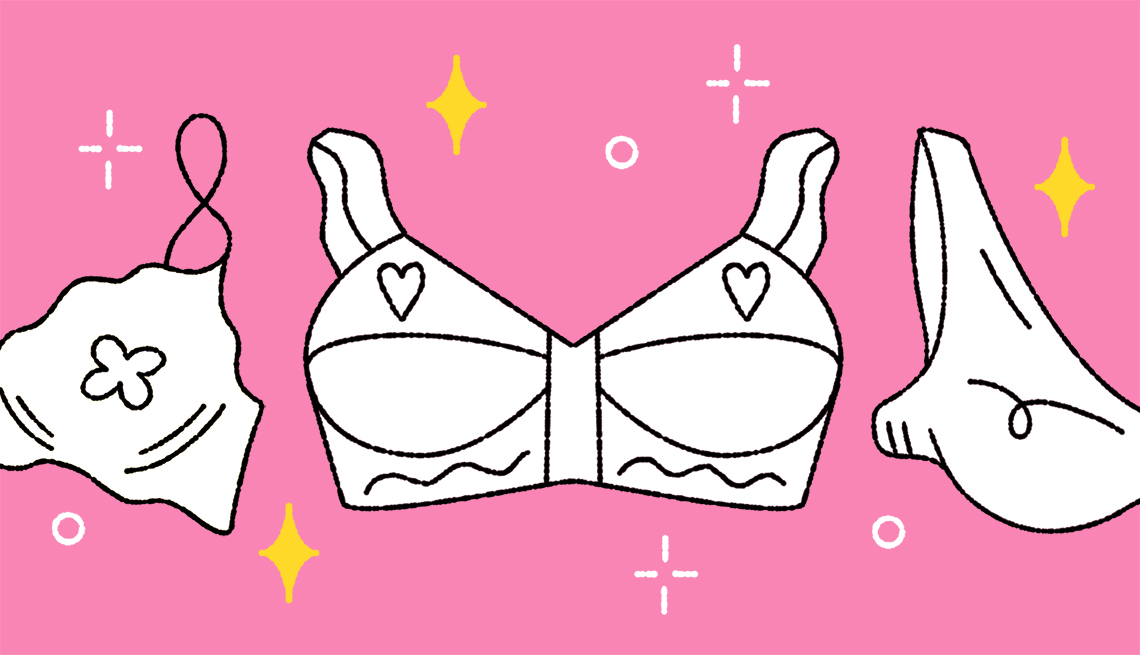 Illustration of three white bras on a pink background