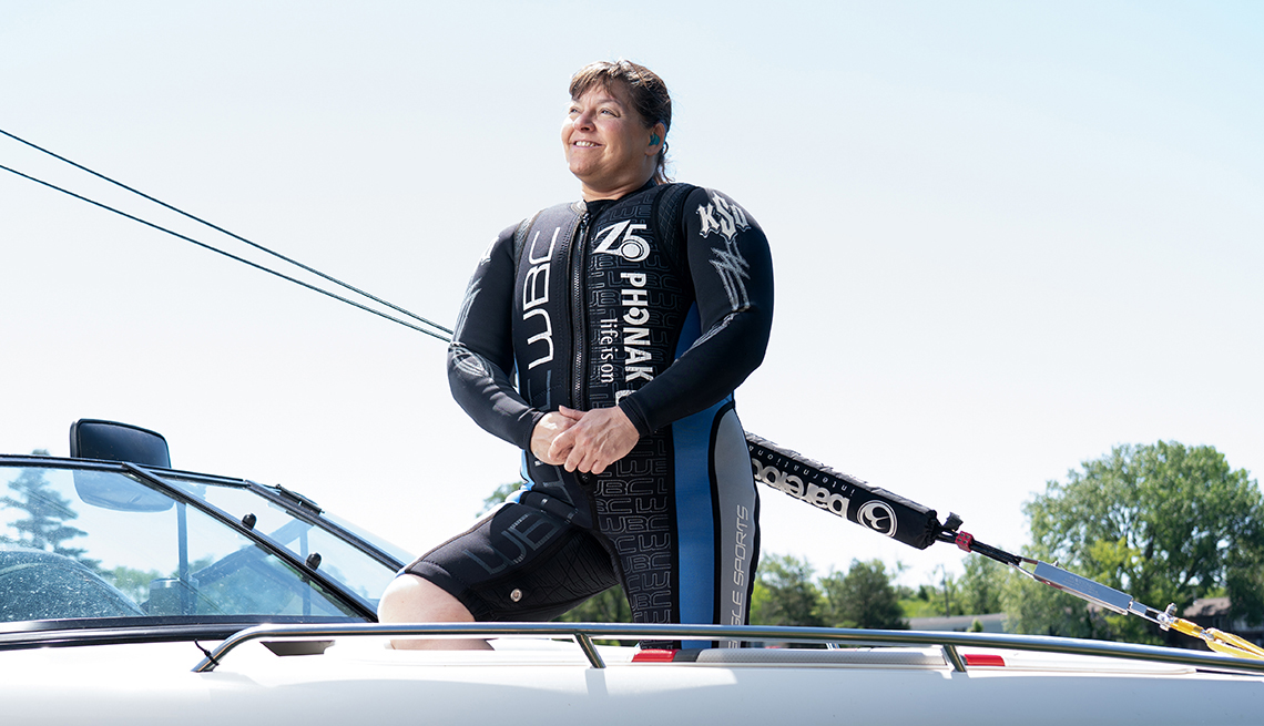 Karen Putz,poses on a boat prior to barefoot waterskiing on Shannon Lake in Reddick, IL,