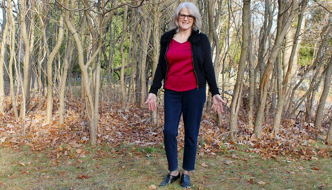 Author Karen DeBonis wearing the jeans her mother left her