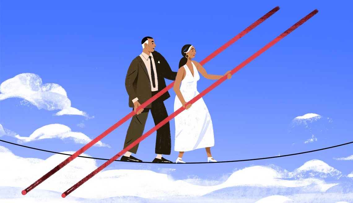 Illustration of a couple walking a tight rope in the sky