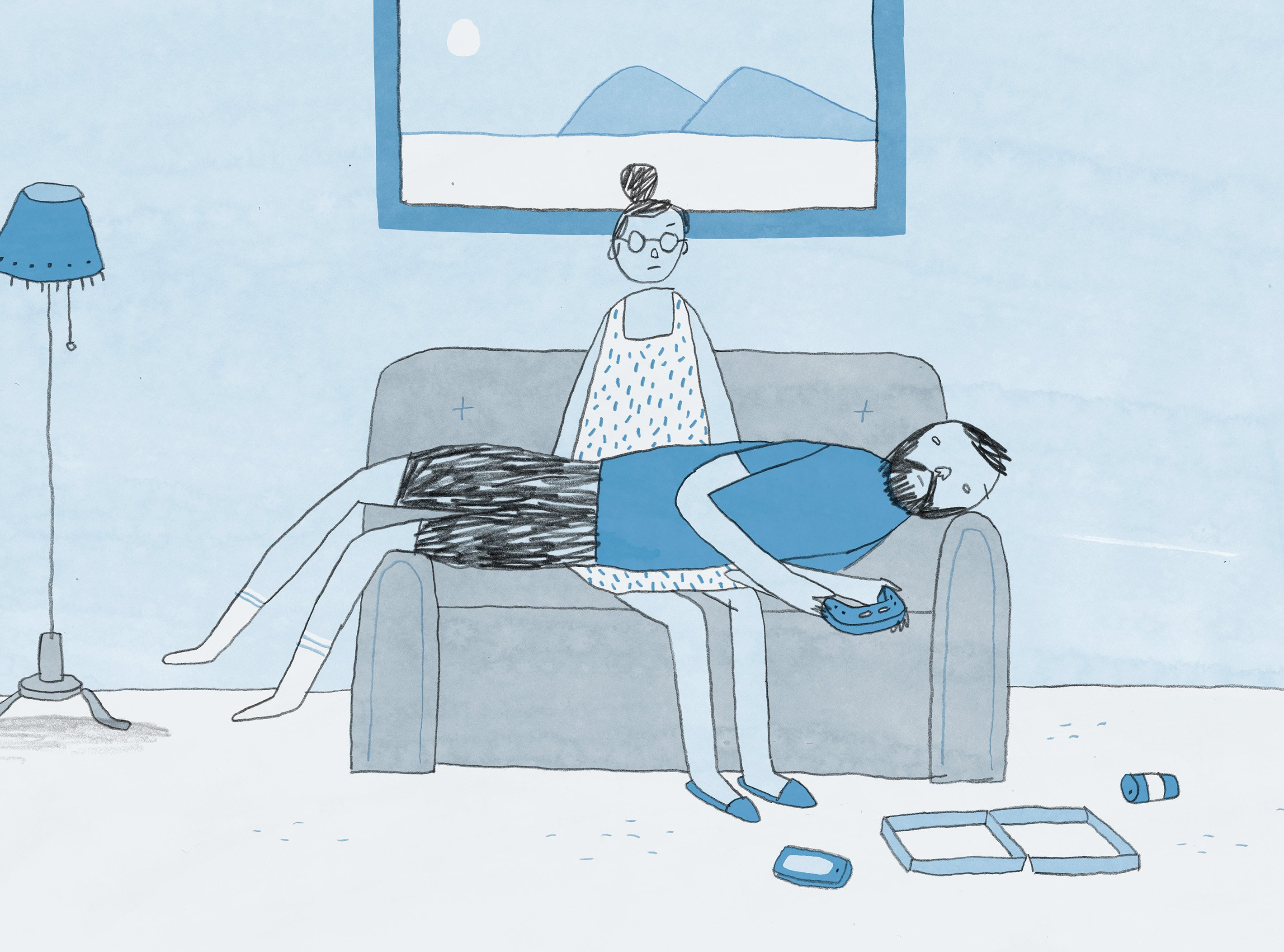 Illustration of a woman sitting on a couch with her adult son laying across her using a game controller