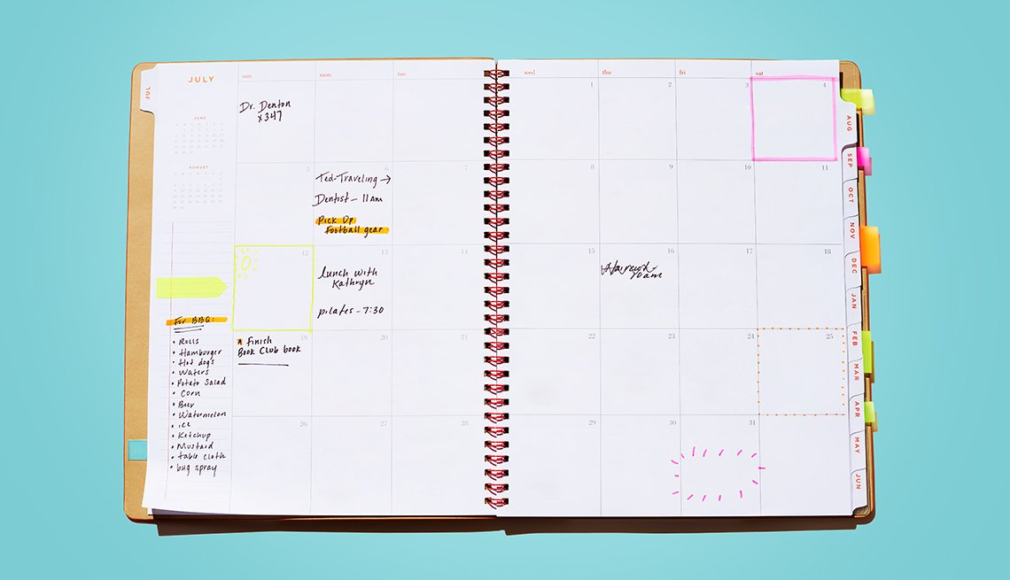 Calendar book open to the month view