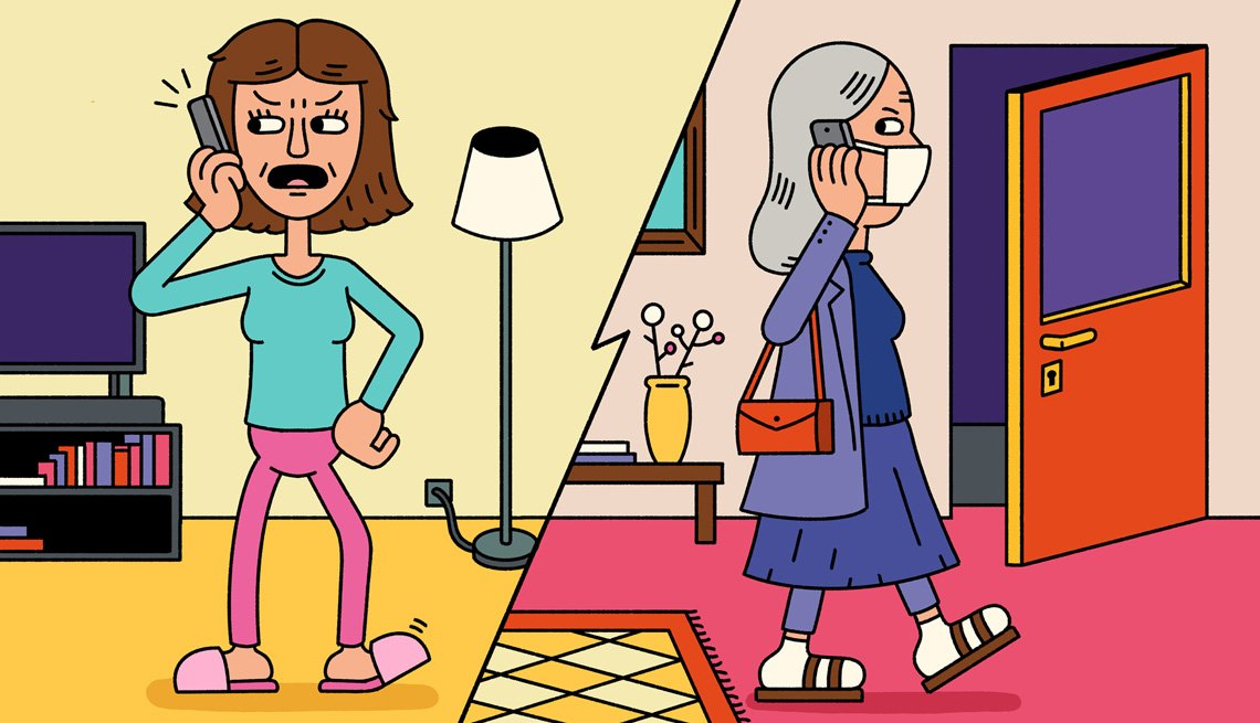 illustration of a woman talking angrily on the phone and one woman wearing a face mask about to walk out the front door