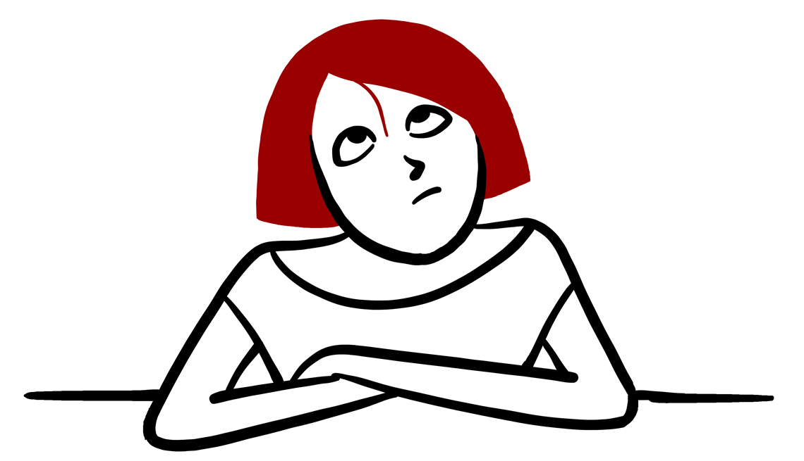 Illustration of a woman with short red hair looking up at her bangs