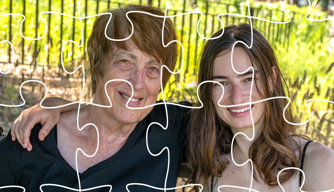 A daughter with her arm around her mother with puzzle pieces outlined on top of the image