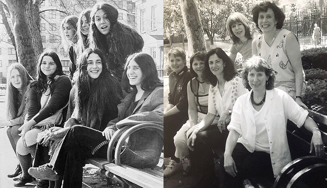 a side by side of a group of six friends sitting on a bench. one of them as adults and one of them in their youth