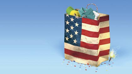 buy, shop, American, china, made in America, red, white, blue, star, spangled