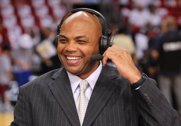 Analyst Charles Barkley shares a laugh before the game against the Miami Heat and the Oklahoma City Thunder during Game Five of the 2012 NBA Finals