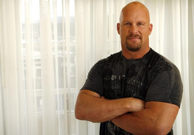 Stone Cold, Steve Austin, star of The Condemned, poses for pictures in Beverly Hills.