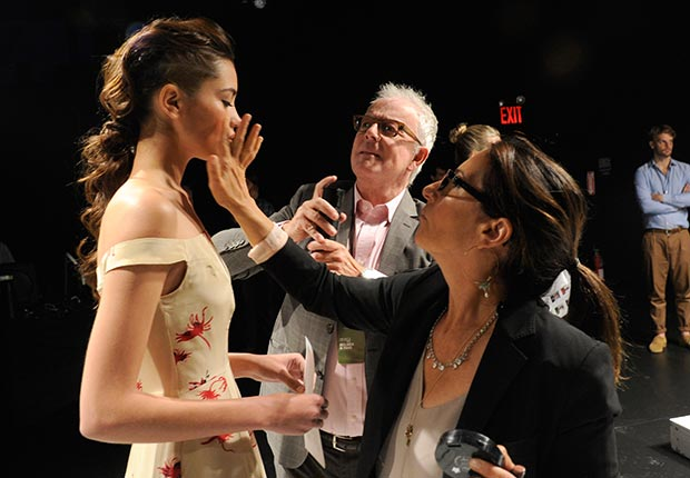 Bobbi Brown and model backstage at the Holmes & Yang spring 2013 presentation during Mercedes-Benz Fashion Week at The Box at Lincoln Center on September 12, 2012 in New York City