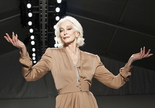Carmen Dell'Orefice walked the runway during Fashion Week for the  Norisol Ferrari Spring/Summer 2013 collection.