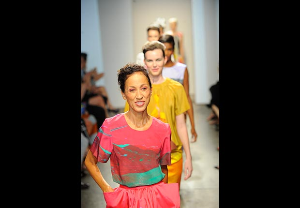 Supermodel Pat Cleveland walked the MArimekko runway during Fashion Week 2012 in New York City