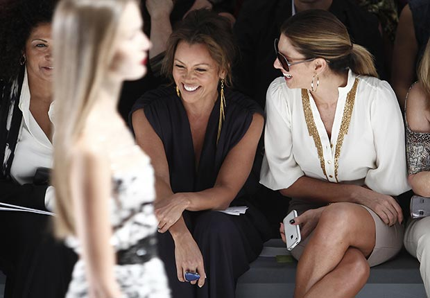Former models Vanessa Williams and Daisy Fuentes chat before the Carlos Miele runway show during Fashion Week 2012.