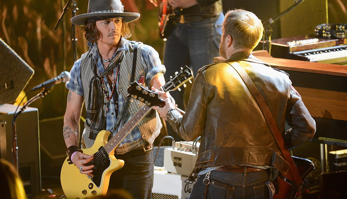 Actor Johnny Depp Performs On Stage, Guitar, Singer, Actor Rock Stars