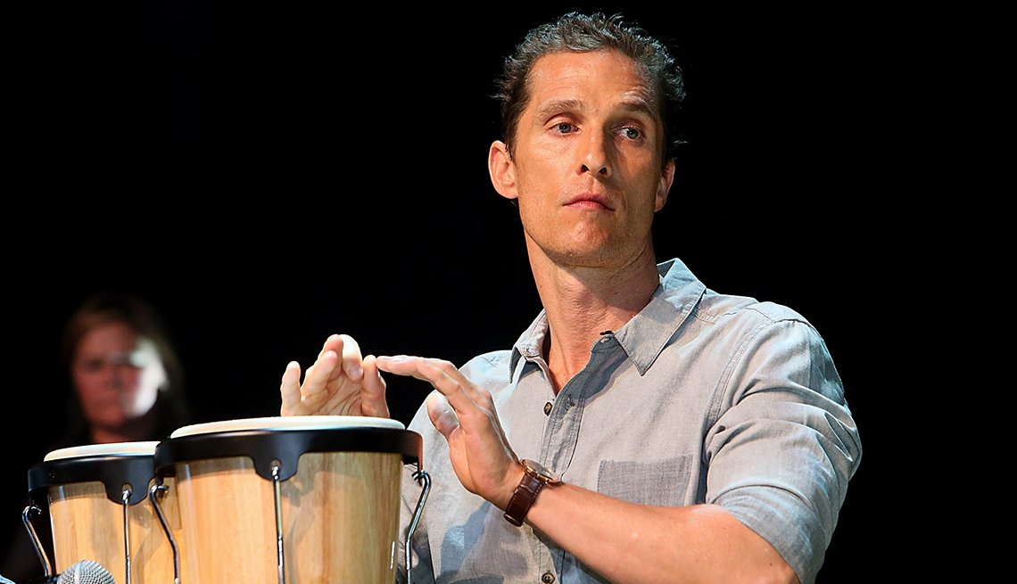 Matthew McConaughey, Actor, Performs, Bongo Drums, On Stage, Concert, Actor Rock Stars