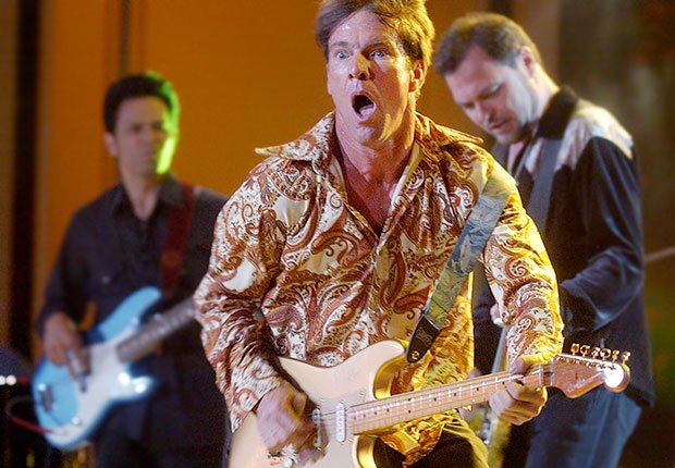 Actor-musician Dennis Quaid, center, performs with his band, The Sharks, Boys Just Wanna Have Bands