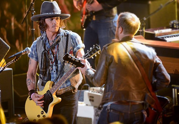Actor/musician Johnny Depp and musician Dan Auerbach of The Black Keys perform onstage, Boys Just Wanna Have Bands