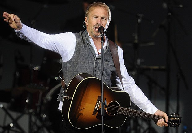 American actor Kevin Costner performs with Modern West band, Boys Just Wanna Have Bands