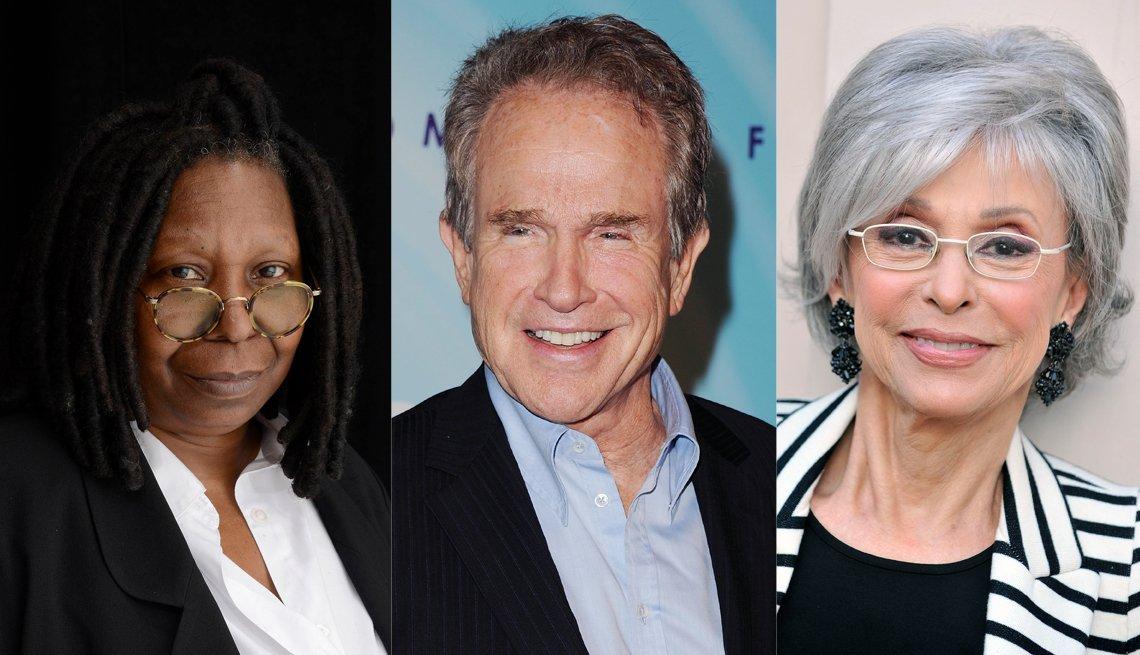 Left To Right, Actress Whoopi Goldberg, Actor Warren Beatty, Actress Rita Moreno, Celebrity Name Quiz