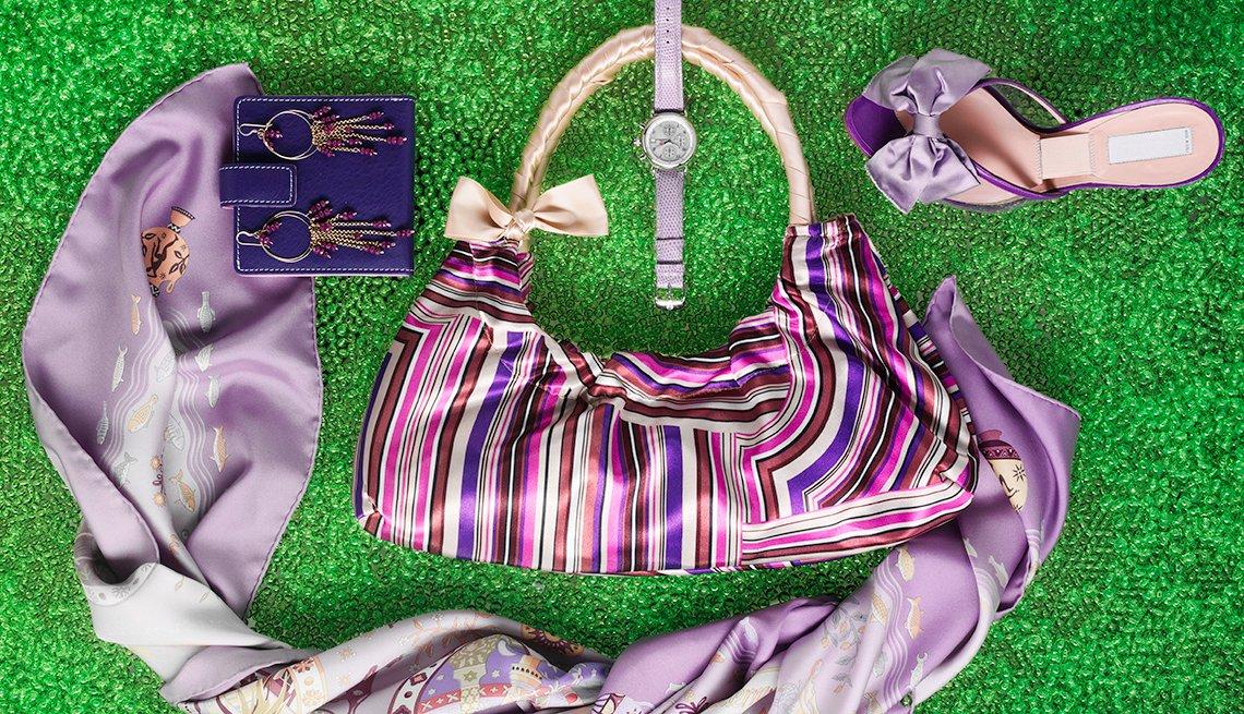 Purple Scarf, Purple Shoes, Purple Watch, Purple And Pink Purse, Purple Wallet, Look Younger.
