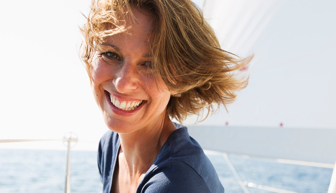 Woman, Smiling, On A Boat, Sailboat, Short Hair, Look Younger