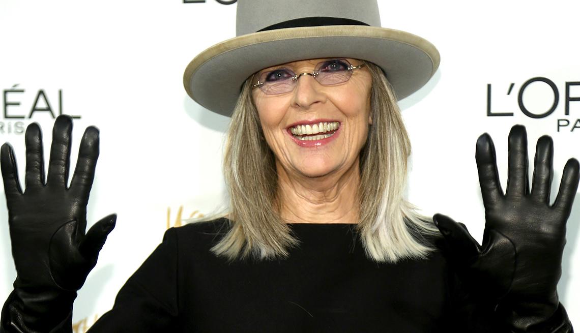 Actress Diane Keaton, Celebrity Grey Hairstyles