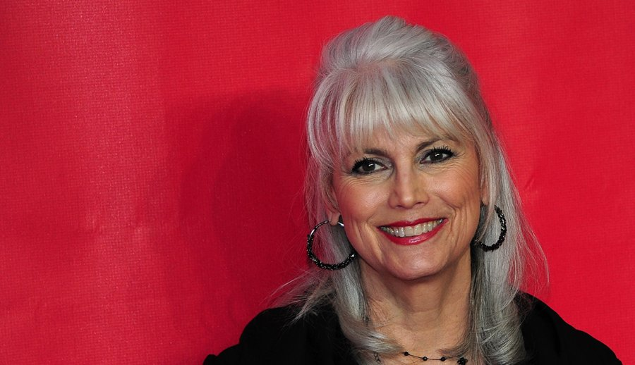 Smiling Woman Grey Hair Red Background Emmylou Harris Singer Going
