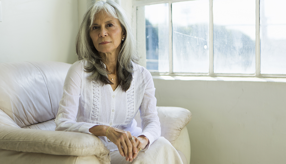 Woman Sitting, Grey Hair, Going Grey Tips