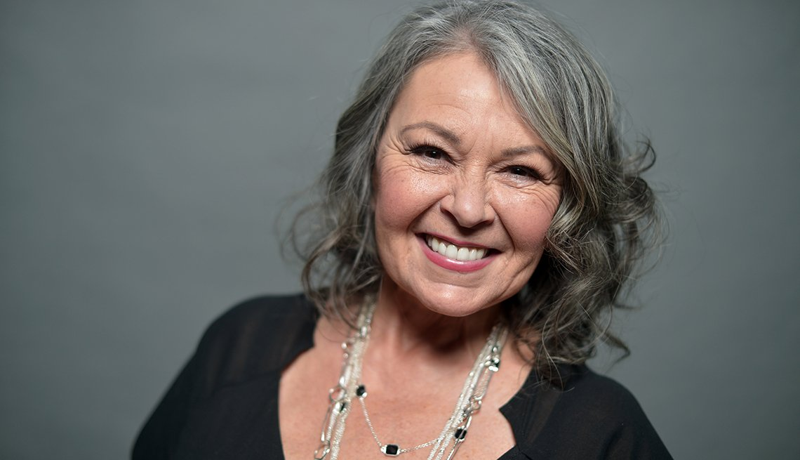 Smiling Woman Grey Hair, Roseanne Barr, Actress, Going Grey Tips