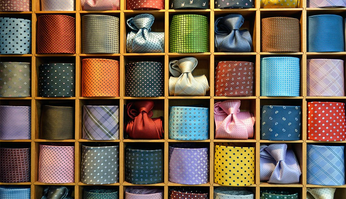 Drawer, Multiple Colorful Neckties, Eight Styles For Color Shy Guys