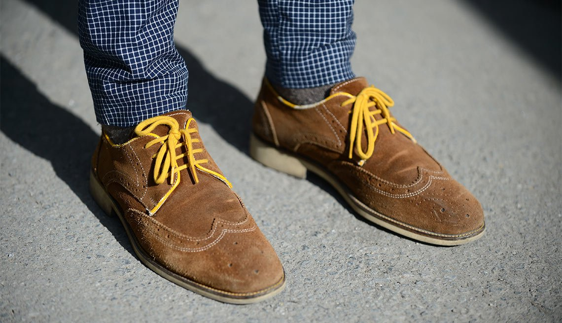 Close Up, Mens Shoes, Suede Tan Shoes, Yellow Laces, Eight Styles For Color Shy Guys