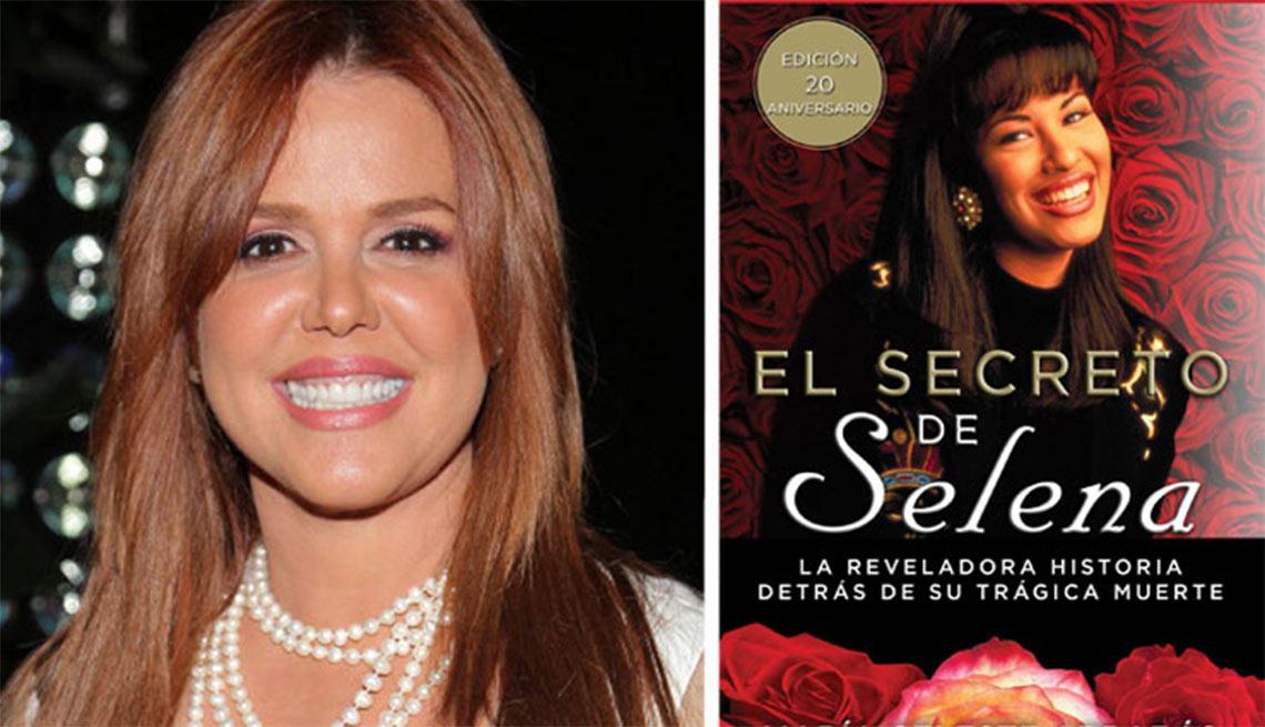 Retrato de Maria Celeste Arrarás y portada de su libro El secreto de Selena