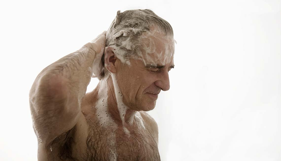 Senior man washing hair in shower, Beauty Tips and Secrets for Men