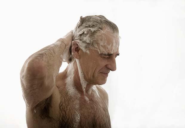 Senior man washing hair in shower, Beauty Tips and Secrets for Men