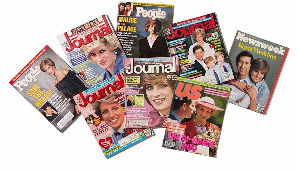 Foto montaje de varias portadas de revista en las que sale Lady Diana