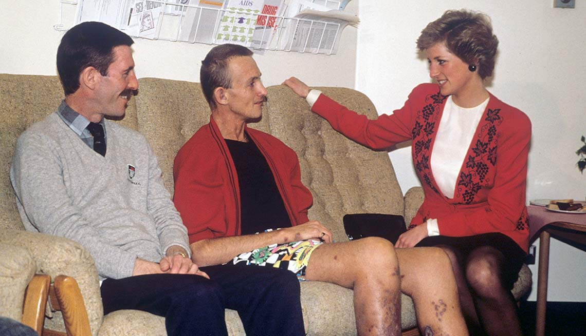 Princess Diana talking to AIDS patients
