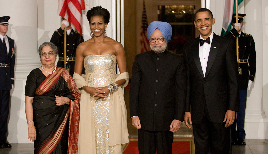 Michelle Obama at her first state dinner in 2009