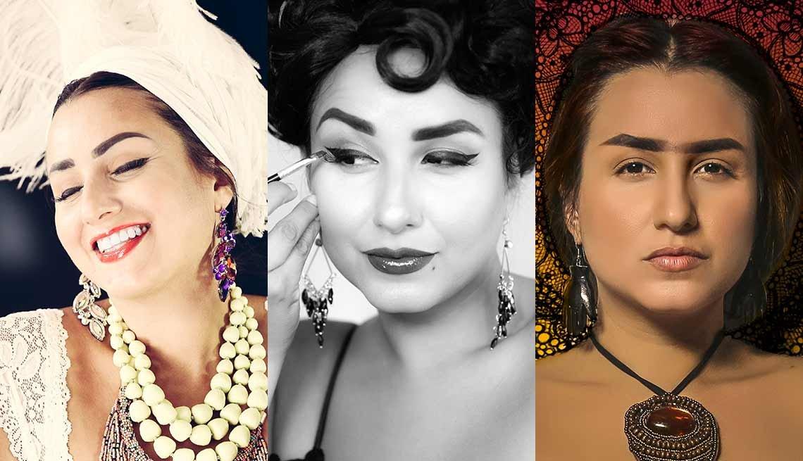 Rebecca G. Torres personificando a varias divas latinas Carmen Miranda, Rita Moreno, Frida Kahlo