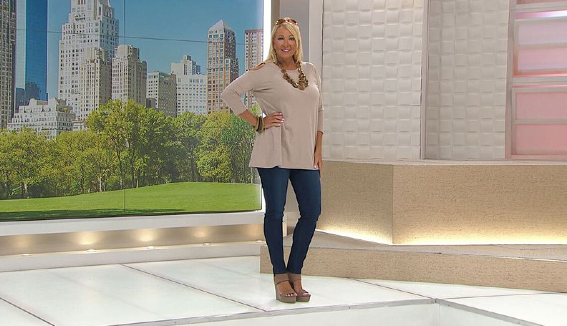 Model wearing Diane Gilman jeans on the Home Shopping Network