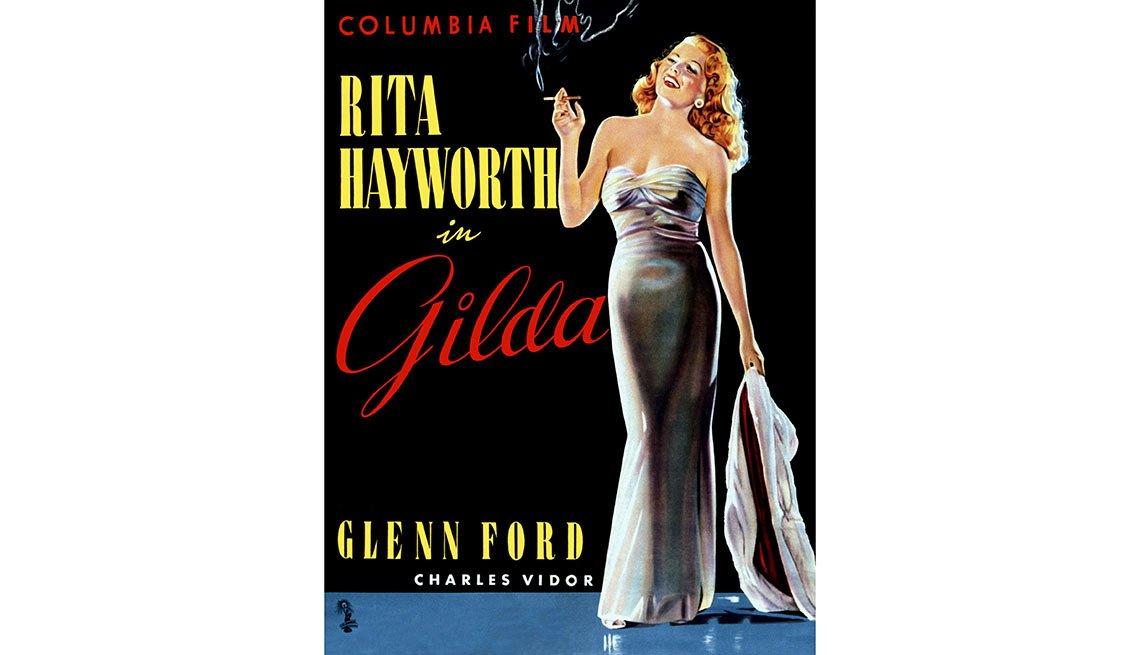 Afiche de la película Gilda, protagonizada por Rita Hayworth - La vida de la artista en el cine