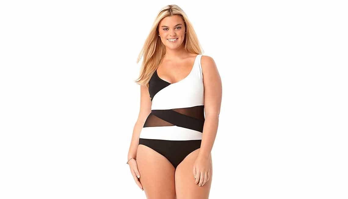Anne Cole Women's Mesh Insert Asymmetric Spliced - Una pieza - Mejores trajes de baño para el verano del 2016