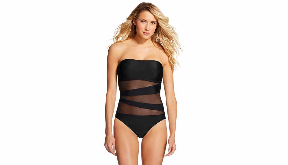Mossimo Micro-Goddess Mesh Inset Bandeau One-Piece
