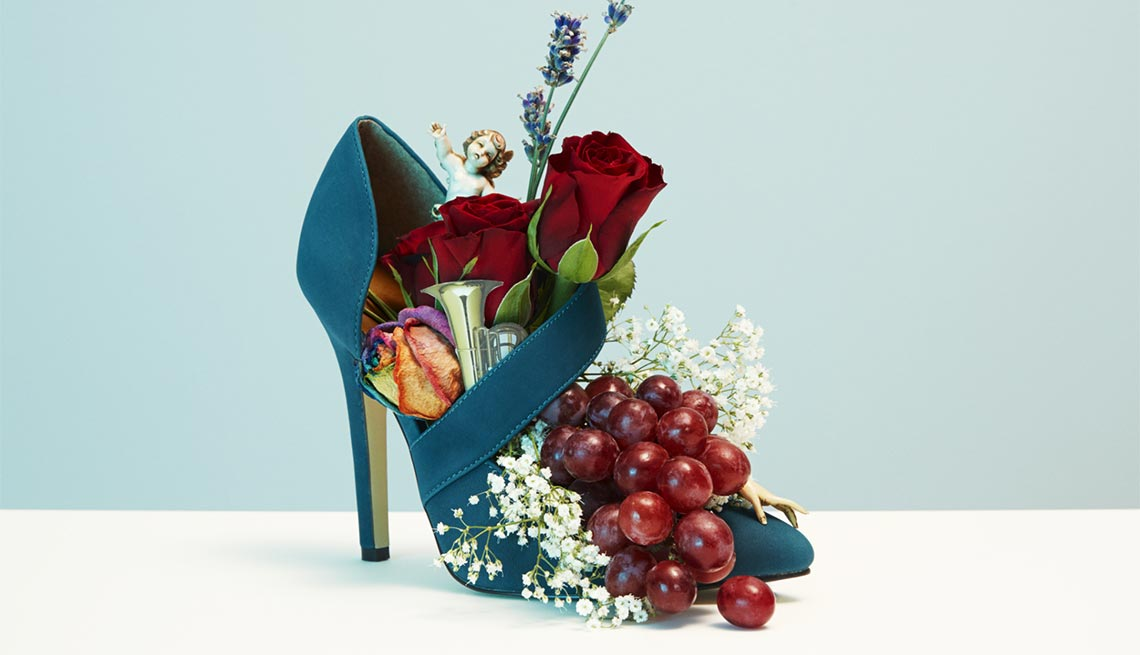High heeled shoe filled with flowers