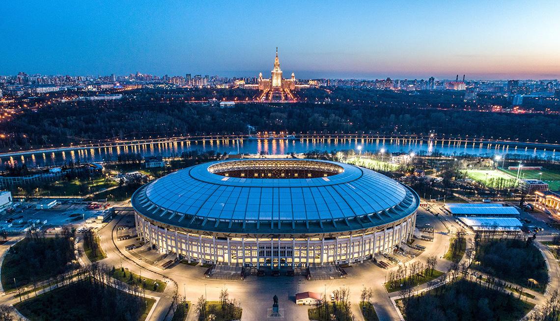 Vista aérea del estadio Luzhniki, en Moscú