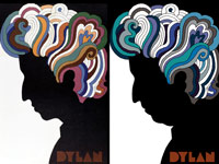 Artist Milton Glaser created the iconic psychedelic Dylan poster (left) in 1968 and gave it an age-appropriate makeover (right) for a 70th birthday salute to the singer.