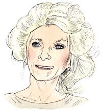 Portrait drawing of novelist Jackie Collin