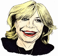 Portrait drawing of English singer Marianne Faithfull. Close up look of a lady with smile