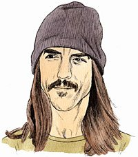 Portrait drawing of American musician Anthony Kiedis . Person with long hair and knit cap